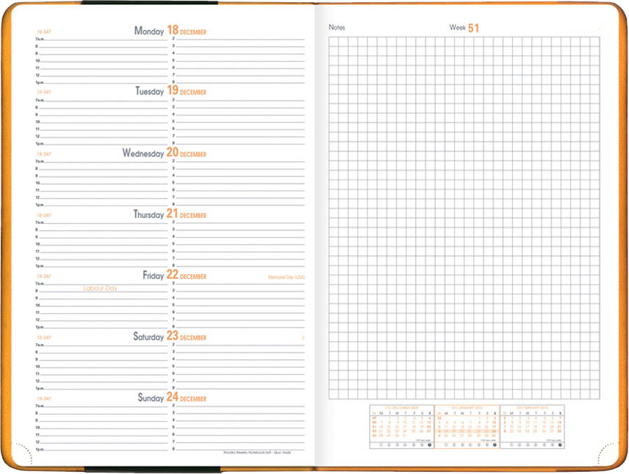 "Rhodia Planner Desk"" January-December - Large Weekly Desk with Notes"