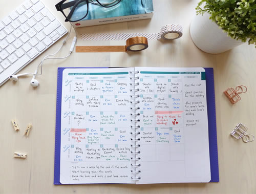 Plan ahead, add events and appointments, dedicated space for 'to-do' lists and monthly objectives or reminders.